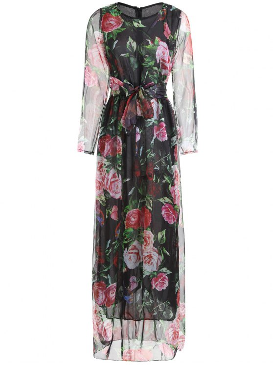 online Floral Print Long Sleeve Belted Maxi Dress - BLACK M