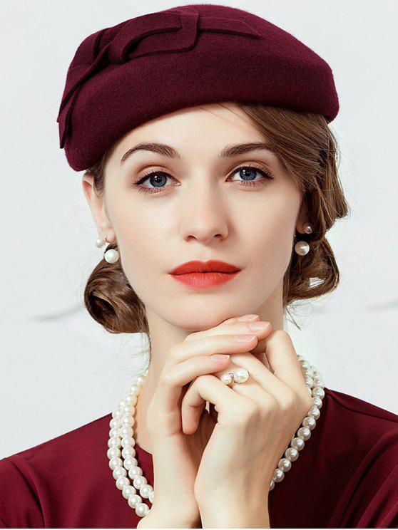 قبعة صوفية مزينة بعقدة - نبيذ أحمر