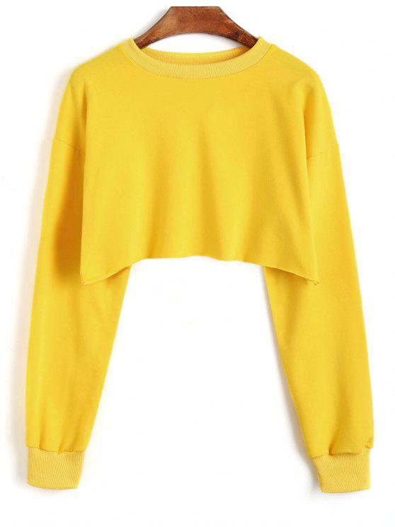 women's Sporty Cropped Sweatshirt - MUSTARD ONE SIZE