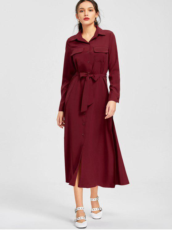 683ea793fc69 32% OFF  2019 Button Up Belted Shirt Maxi Dress In WINE RED