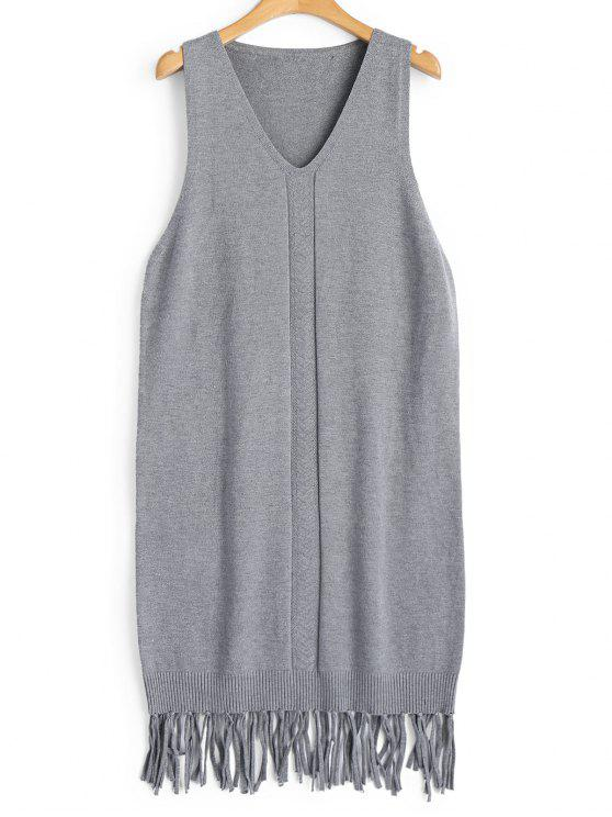 online Longline Fringed Vest V Neck Sweater - GRAY ONE SIZE
