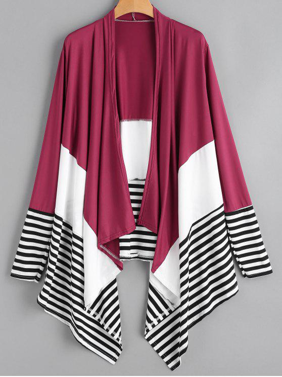 787bb630ebe Open Front Draped Striped Asymmetric Cardigan