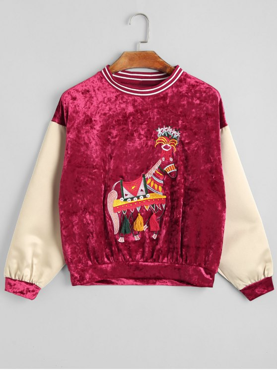 shops Velvet Horse Embroidered Sweatshirt - RED ONE SIZE