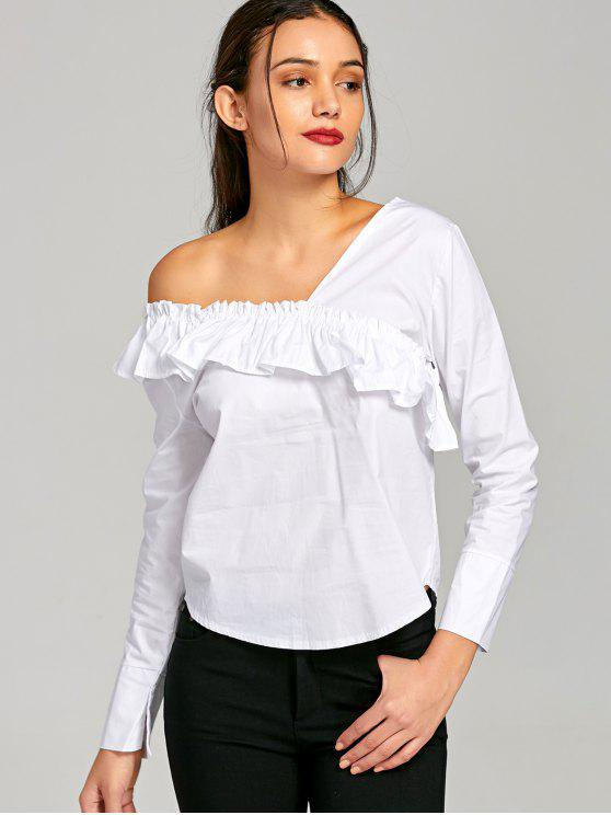 54428528e65 34% OFF] 2019 Flounced Skew Collar Blouse In WHITE S | ZAFUL