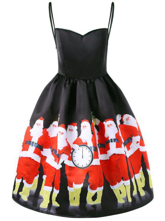 womens Christmas Santa Print Spaghetti Strap Dress - BLACK 2XL
