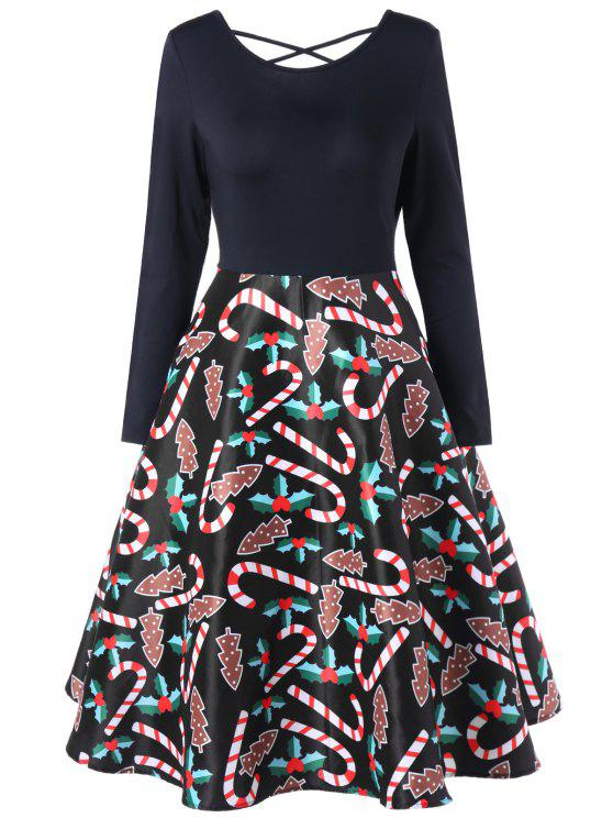 فستان سوينغ مرسوم - أسود L