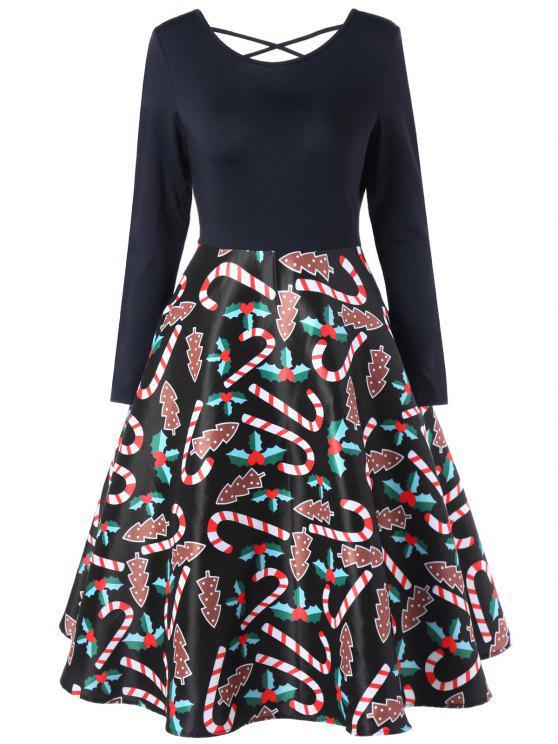 فستان سوينغ مرسوم - أسود XL