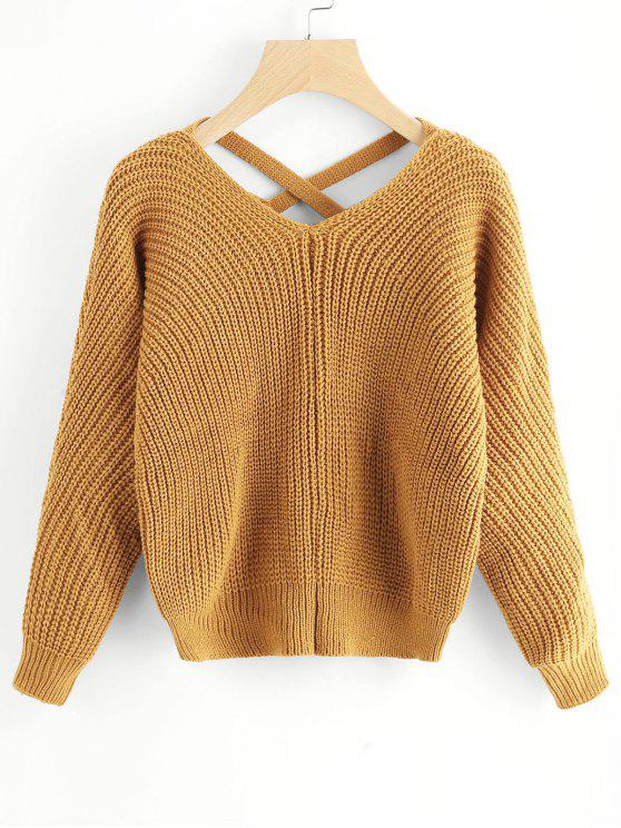 fancy V Neck Criss Cross Pullover Sweater - MUSTARD ONE SIZE