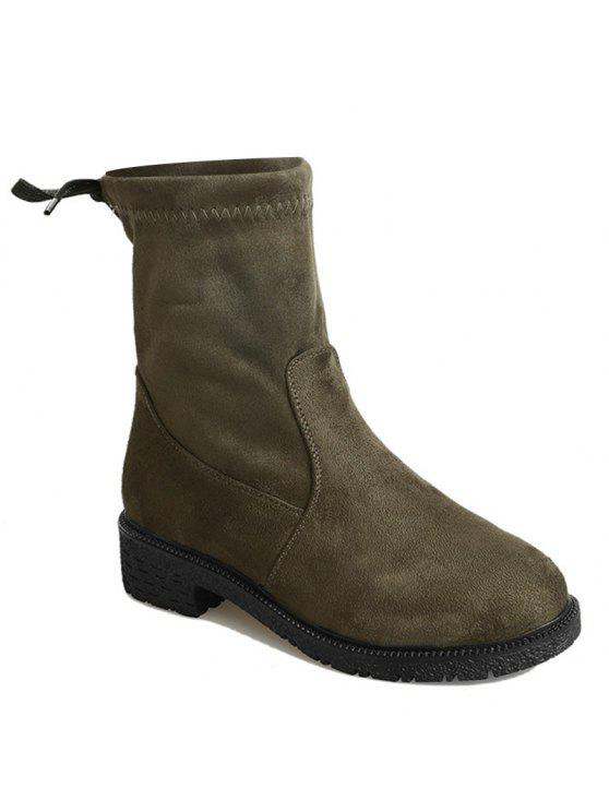 7f08d652fbe4 2019 Tie Back Low Heel Ankle Boots In ARMY GREEN 37