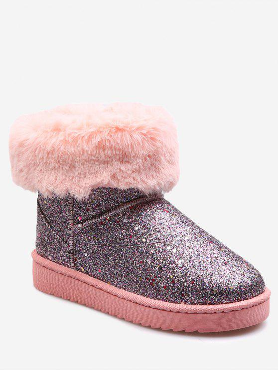 chic Faux Fur Trim Sequined Snow Ankle Boots - PINK 36