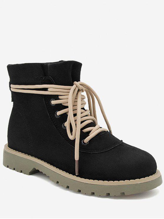 hot Low Heel Tie Up Boots - BLACK 37