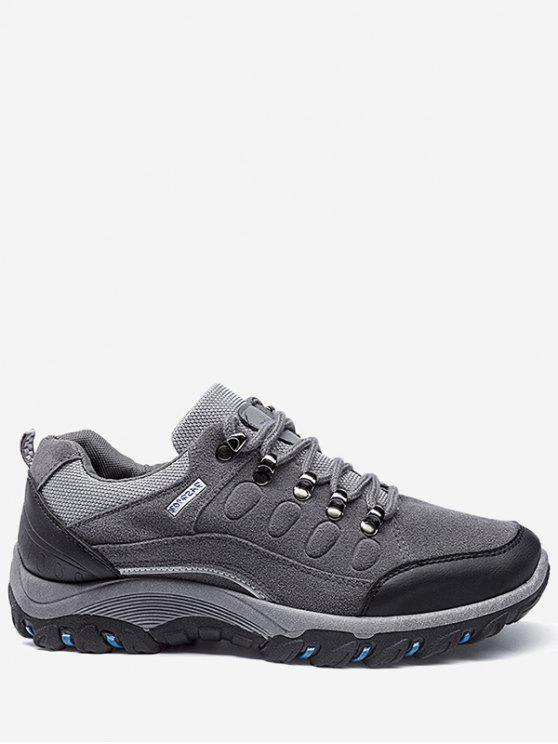 best Lace Up Color Block Sneakers - GRAY 44