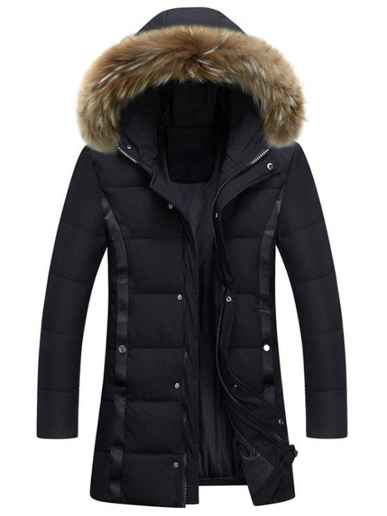 Zip Up Cappotto imbottito in pelliccia di Faux - Nero XL