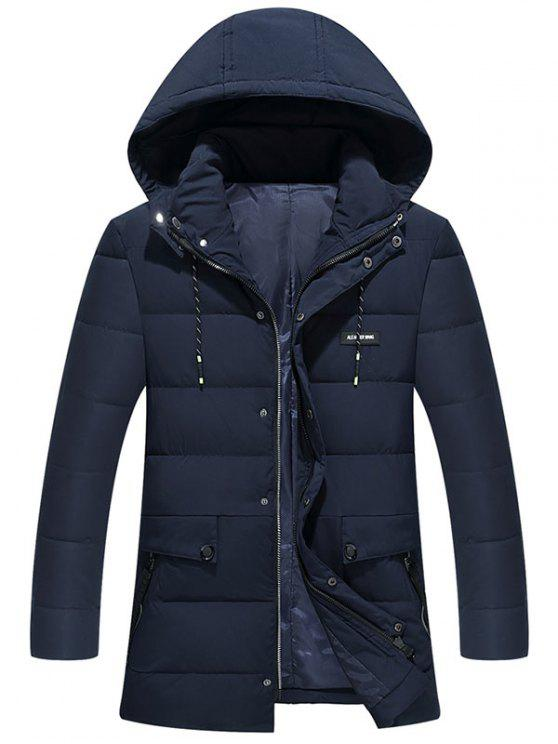 outfit Ribbon and Zipper Embellished Hooded Padded Coat - PURPLISH BLUE 7XL