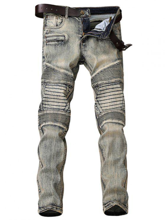 Zipper Fly Accordion Pleat Bleach Wash Jeans - Gris 31
