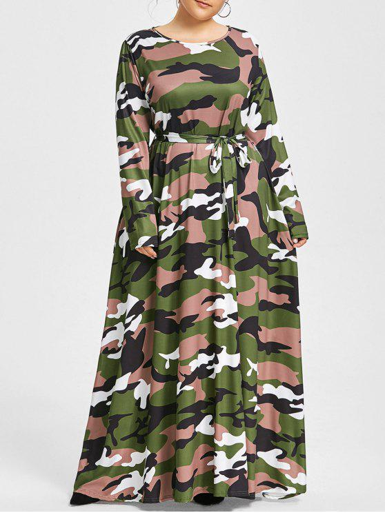 Plus Size Belted Camo Maxi Dress ACU CAMOUFLAGE