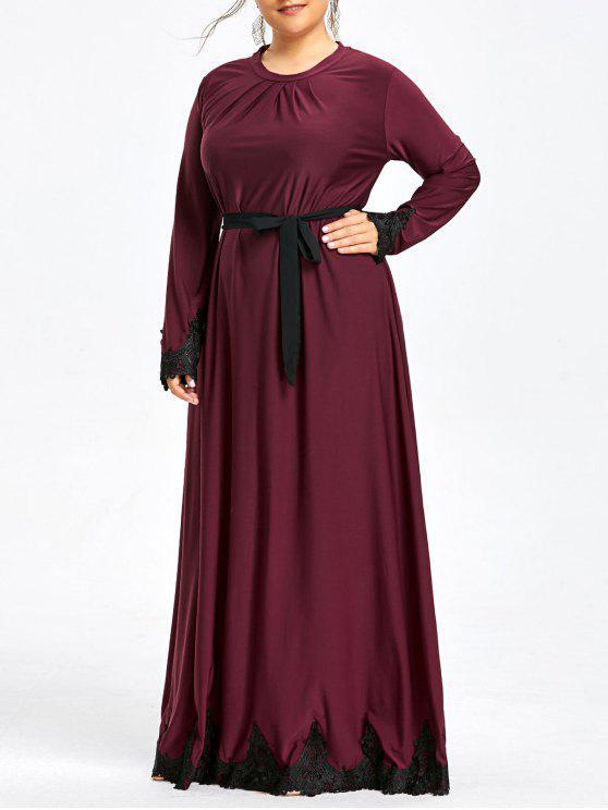 فستان من المقاس الكبير بأكمام طويلة مزين بحواف من الدانتيل - عنابي اللون 2XL