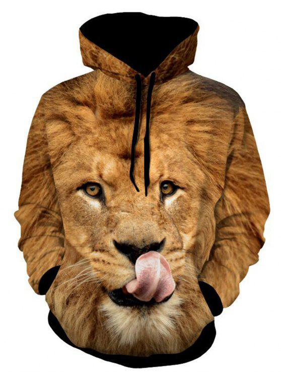 fashion Lion Patterned 3D Animal Hoodie - YELLOW L
