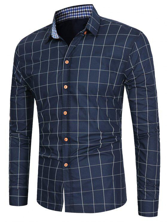 قميص عارضة طويلة الأكمام شبكة - الأرجواني الأزرق XL