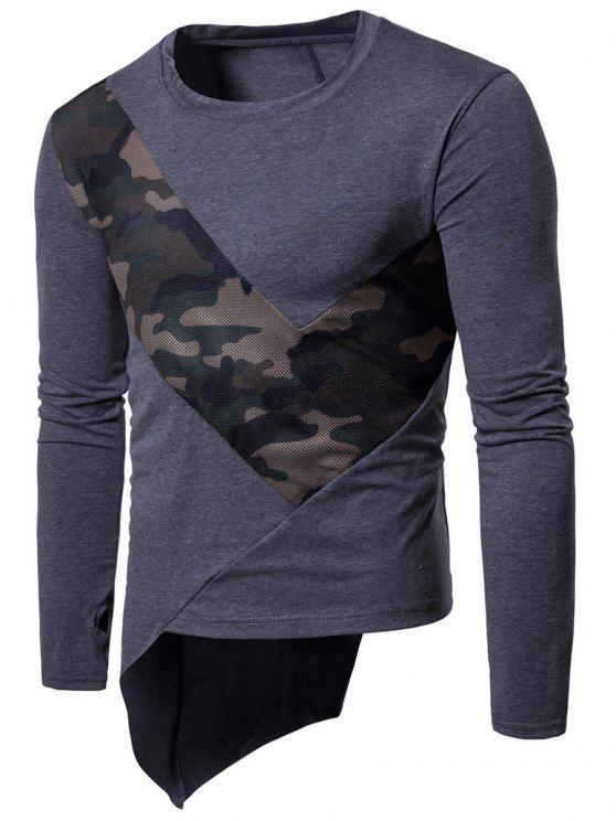 Rundhalsausschnitt Mesh Camouflage Panel Asymmetrisches T-Shirt - Dunkelgrau M