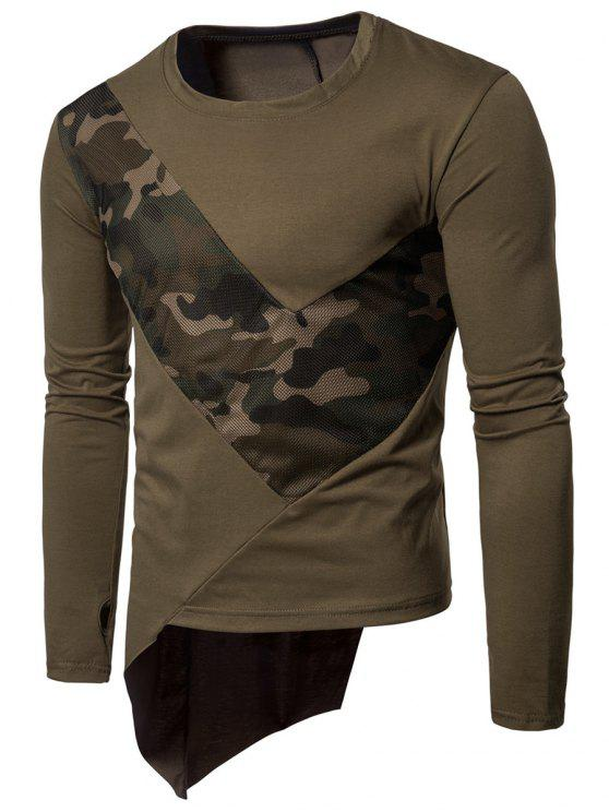 hot Crew Neck Mesh Camouflage Panel Asymmetric T-Shirt - ARMY GREEN 2XL