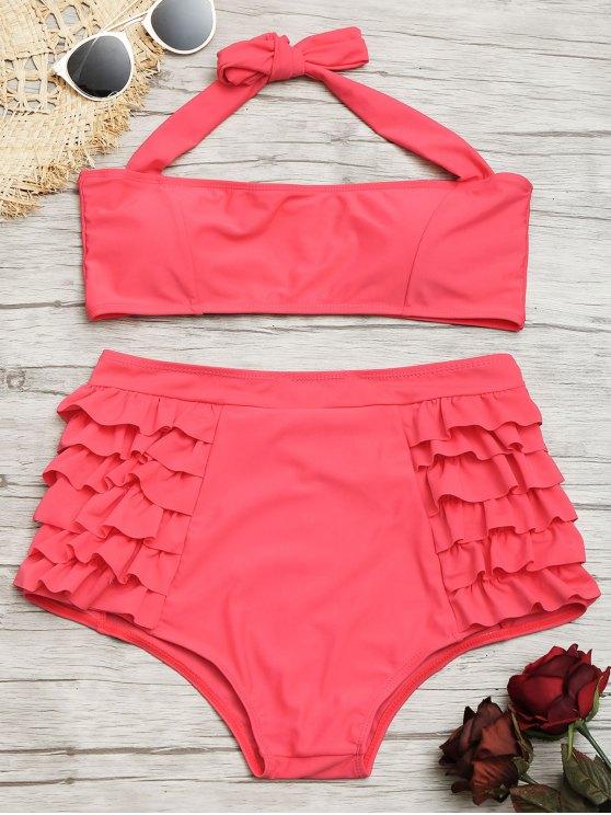 39e12face7fe0 27% OFF] 2019 Ruffle High Waisted Bikini Set In WATERMELON RED | ZAFUL