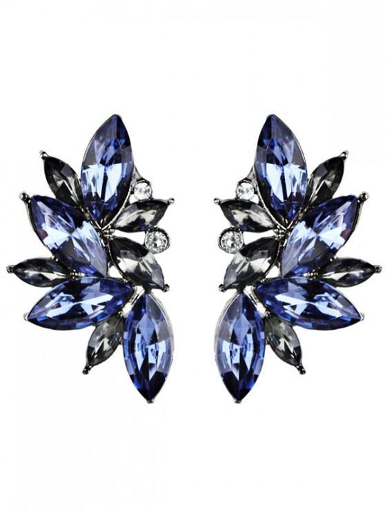 shops Rhinestone Faux Crystal Statement Earrings - BLUE