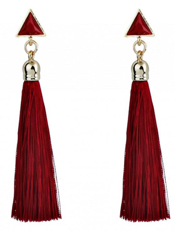 buy Triangle Tassel Ethnic Drop Earrings - RED