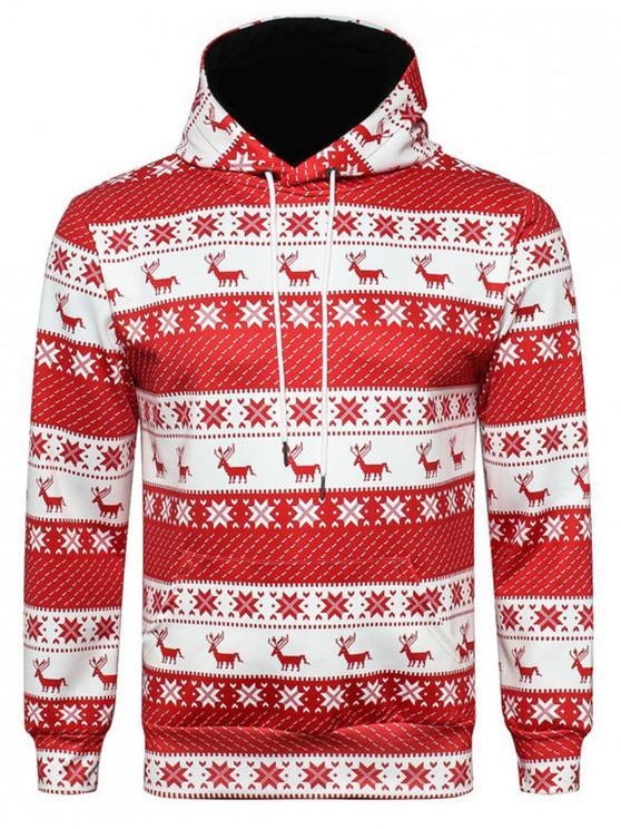 buy Hooded Christmas Elk Snowflake 3D Print Hoodie - COLORMIX XL