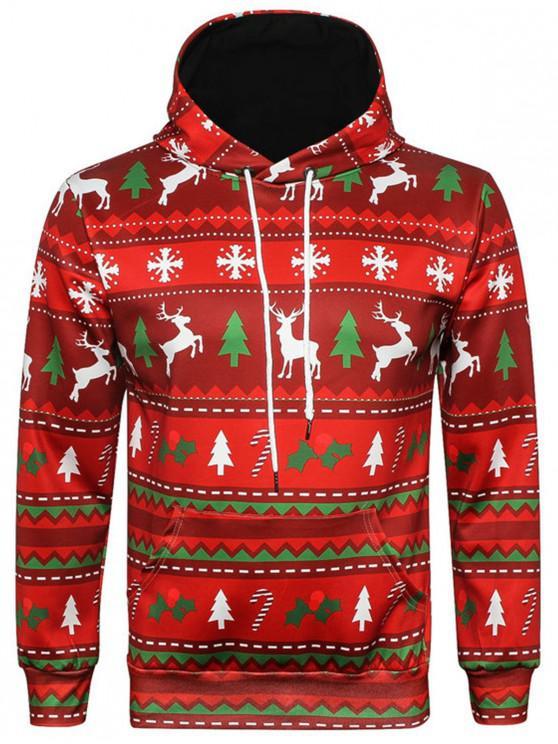 new Hooded Christmas Elk Snowflake Geometric Print Hoodie - COLORMIX 3XL