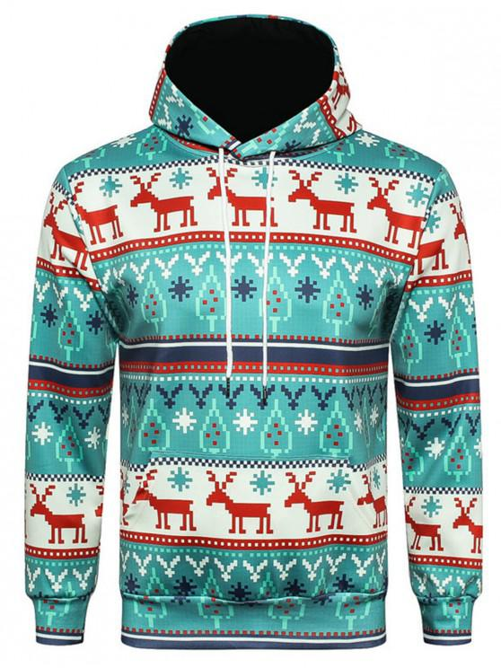shop Hooded Christmas Elk Geometric Print Pullover Hoodie - COLORMIX 3XL