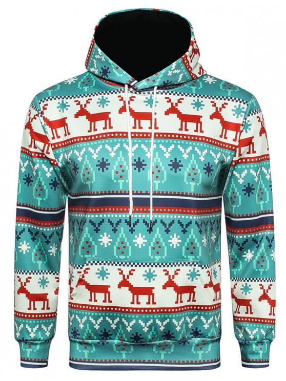 Hooded Christmas Elk Geometric Print Pullover Hoodie - COLORMIX L