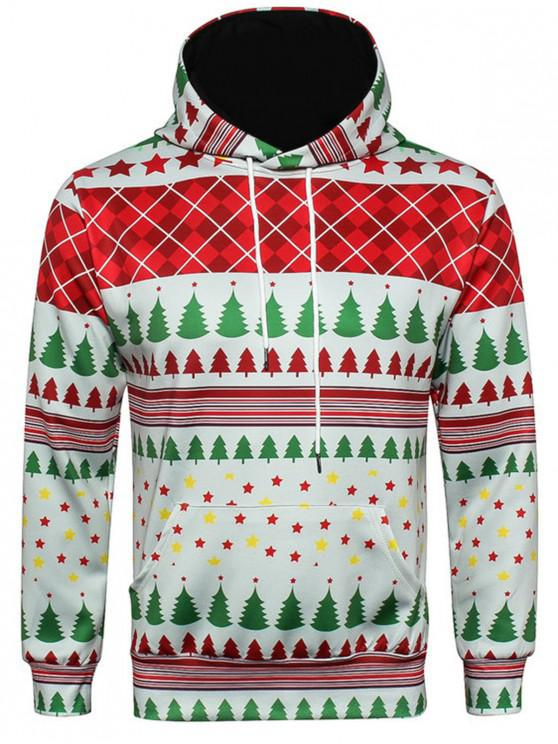 Hooded Christmas Tartan Star Print Pullover Hoodie - COLORMIX 3XL