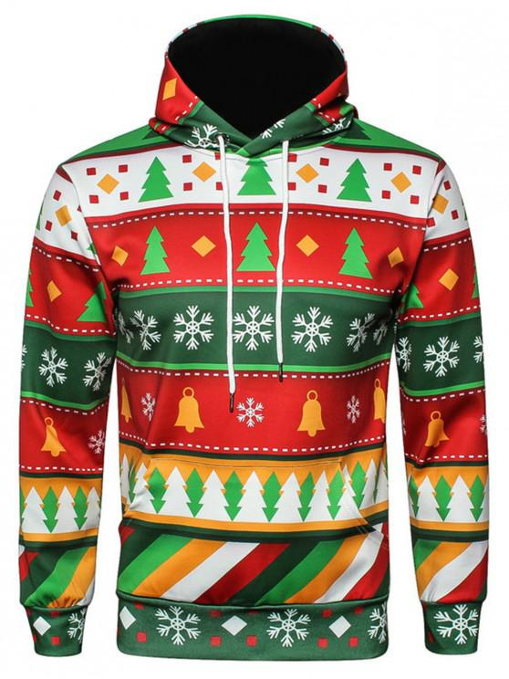 Hooded Christmas Snowflake Geometric Print Pullover Hoodie - COLORMIX M