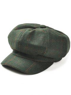 Vintage Checked Pattern Wool Blended Beret Hat - Blackish Green