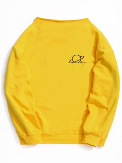 Mock Neck Global Graphic Tunic Sweatshirt - Yellow