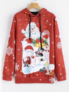 Drawstring Snowflakes Christmas Hoodie - Red L