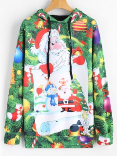 Drawstring Candy Christmas Tree Hoodie - Green 2xl