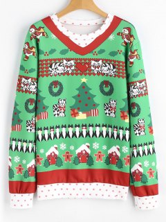 Drawstring Cat Christmas Snowflakes Sweatshirt - Green