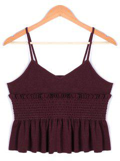 Ruffles Smocked Spaghetti Stap Top - Dark Red L
