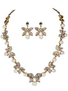Rhinestone Faux Pearl Butterfly Wedding Jewelry Set - Golden