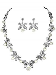 Rhinestone Faux Pearl Butterfly Wedding Jewelry Set - Silver