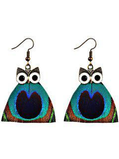 Vintage Peacock Feather Owl Hook Earrings - Green