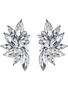 Rhinestone Faux Crystal Statement Earrings - White
