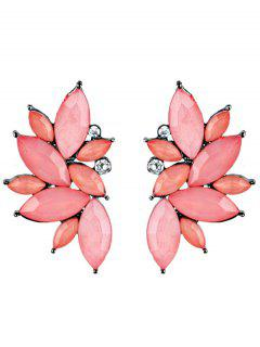 Rhinestone Faux Crystal Statement Earrings - Pink