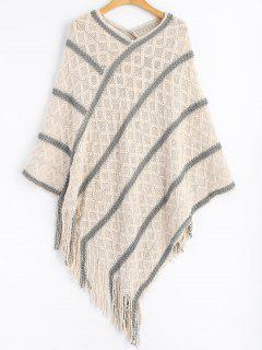 Striped Fringed Poncho Sweater - Off-white