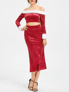 Christmas Off The Shoulder Top With Mermaid Skirt - Red L