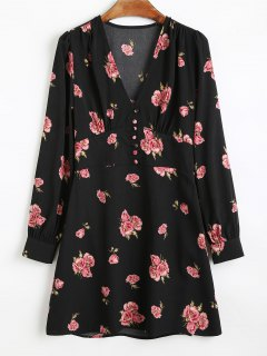 Long Sleeve Half Buttoned Floral Mini Dress - Black S