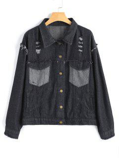 Button Up Distressed Denim Jacket - Deep Gray
