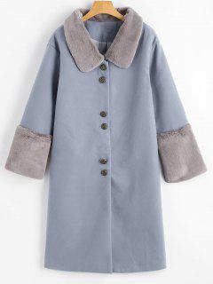 Faux Fur Trim Button Up Coat - Grey Blue M